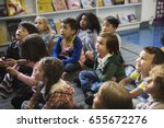 kindergarten students sitting... | Shutterstock . vector #655672276