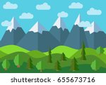 vector panoramic mountain... | Shutterstock .eps vector #655673716