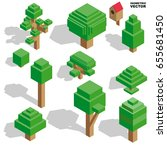 isometric vector trees set for... | Shutterstock .eps vector #655681450