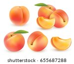 peach sweet fruit. realistic... | Shutterstock .eps vector #655687288