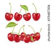 cherry realistic fruit vector...   Shutterstock .eps vector #655687306