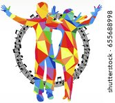 polygon silhouettes dancing... | Shutterstock . vector #655688998