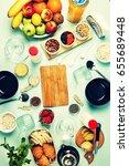 healthy breakfast. various... | Shutterstock . vector #655689448