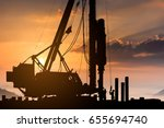 silhouette construction worker... | Shutterstock . vector #655694740