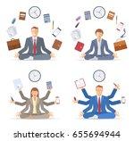 businessman and businesswoman... | Shutterstock .eps vector #655694944