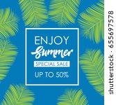 enjoy summer pattern logo...   Shutterstock .eps vector #655697578