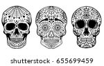 Set Of Hand Drawn Sugar Skulls...