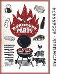 barbecue party flyer template.... | Shutterstock .eps vector #655699474