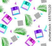 floppy disc and palm leaves on... | Shutterstock .eps vector #655702120