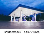 gas station at night time | Shutterstock . vector #655707826