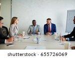 colleagues attending work...   Shutterstock . vector #655726069