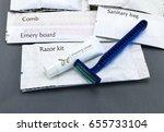 hotel amenities kit on gray... | Shutterstock . vector #655733104