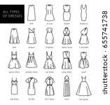 dresses silhouette vector set.... | Shutterstock .eps vector #655741738