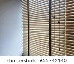 window blinds wood. | Shutterstock . vector #655742140
