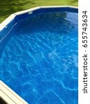 above ground pool on a sunny... | Shutterstock . vector #655743634