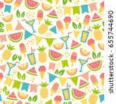 seamless pattern for summer... | Shutterstock . vector #655744690