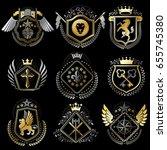 set of luxury heraldic vector... | Shutterstock .eps vector #655745380