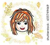 cute girls face  human head.... | Shutterstock .eps vector #655749469