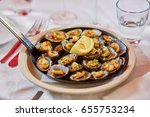 grilled limpets served with... | Shutterstock . vector #655753234