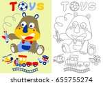 little rhino with his toys ... | Shutterstock .eps vector #655755274
