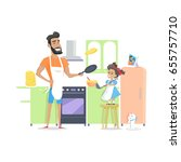 father and daughter cooking... | Shutterstock .eps vector #655757710