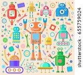 vector set of retro robots.... | Shutterstock .eps vector #655759024