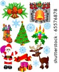 illustration kit new year's fir ... | Shutterstock .eps vector #65576878