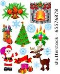 illustration kit new year's fir ... | Shutterstock .eps vector #65576878