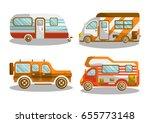 camping bus or camper van... | Shutterstock .eps vector #655773148