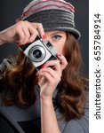 vintage   retro style portrait... | Shutterstock . vector #655784914