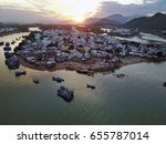 fishing village view from above ... | Shutterstock . vector #655787014