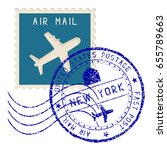 air mail stamp. new york post...   Shutterstock . vector #655789663