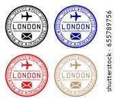 london mail postmarks. colored... | Shutterstock . vector #655789756