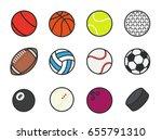 sports balls minimal color flat ... | Shutterstock .eps vector #655791310