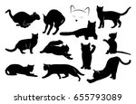 Stock vector set of black cat silhouettes vector image 655793089