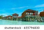 row of luxury wooden water...   Shutterstock . vector #655796830