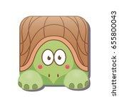 cute square turtle. vector...