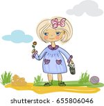 cartoon little girl with flower ... | Shutterstock .eps vector #655806046