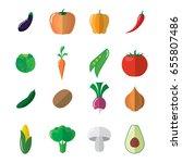 vegetable icons set. aubergine  ...   Shutterstock .eps vector #655807486
