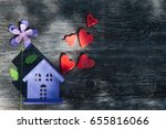 a toy house with a fence of... | Shutterstock . vector #655816066