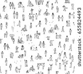 seamless pattern of tiny people ... | Shutterstock .eps vector #655824493