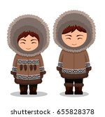 eskimos in national clothes....