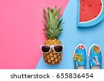 fashion hipster pineapple fruit.... | Shutterstock . vector #655836454