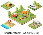 isometric camping territory... | Shutterstock .eps vector #655842010