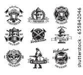monochrome firefighting labels... | Shutterstock .eps vector #655842046