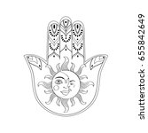hamsa hand lucky charm with sun ... | Shutterstock .eps vector #655842649