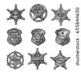silver sheriff badges... | Shutterstock .eps vector #655844650