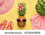 fashion pineapple. bright... | Shutterstock . vector #655844806