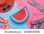 fashion. summer clothes ... | Shutterstock . vector #655844908