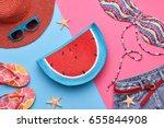 fashion. summer clothes ... | Shutterstock . vector #655844908